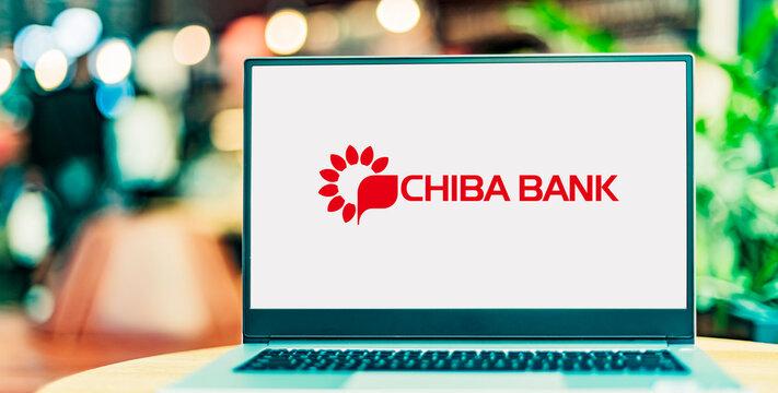 Laptop computer displaying logo of The Chiba Bank