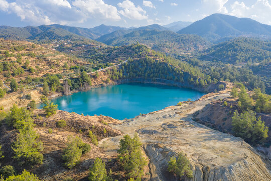 Memi mine lake, abandoned copper mine in Cyprus with the environment partially recovered and reforested