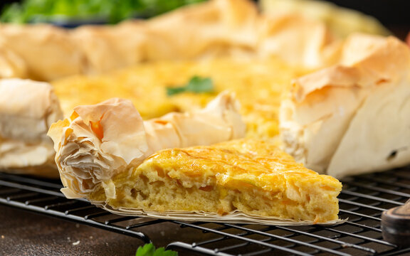 Homemade baked cheese and onion filo quiche or pie