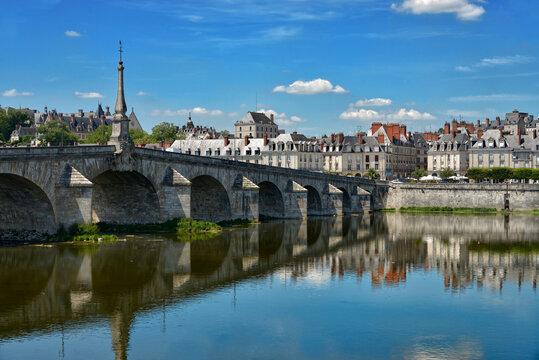 Bridge Jacques-Gabriel over the Loire river at Blois, a commune and the capital city of Loir-et-Cher department in Centre-Val de Loire, France,