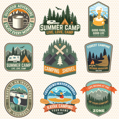 Obraz Set of Summer camp patches. Vector illustration. Concept for shirt or logo, print, stamp, badges or tee. Design with kayak, camping tent, primus, mug, campfire, mountains and forest silhouette. - fototapety do salonu