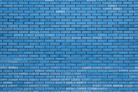 old blue brick wall