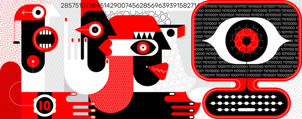 People under influence of global social media. Three people are looking at a computer screen, a large digital eye is watching them from the screen. Red, black, grey and white vector illustration.