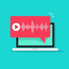Obraz Voice message chat notification or audio podcast notice vector bubble speech on laptop computer screen icon digital tech flat cartoon vector illustration - fototapety do salonu