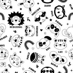 Fototapeta premium Seamless childish pattern with animals