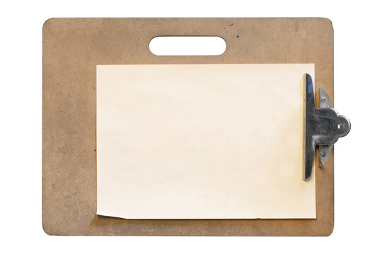 Clipboard with blank sheet of paper isolated over white