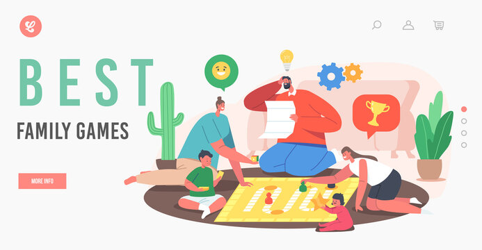 Best Family Games Landing Page Template. Happy Characters Fun, Joyful Sparetime, Kids and Parents Playing Board Games