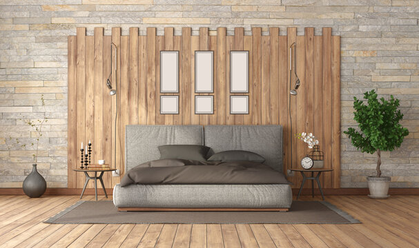 Modern bedroom with double bed against wooden panel - 3d rendering
