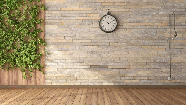 Empty room with climbing plants,wooden panel and stone wall