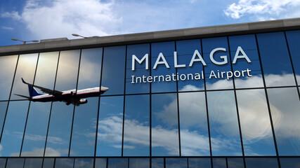 Obraz Airplane landing at Malaga Spain airport mirrored in terminal - fototapety do salonu