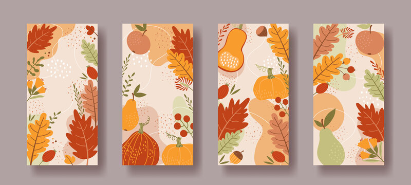 Set of vertical social media backgrounds with autumn ornaments. Pumpkins, berries, leaves and fruits.