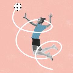 Obraz Modern design, contemporary art collage. Inspiration, idea, trendy magazine style. Sport. Professional female volleyball player on pink background. - fototapety do salonu