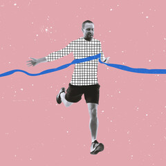 Obraz Contemporary art collage. Inspiration, idea, trendy magazine style. Sport. Professional male athlete, runner on bright background with drawings. - fototapety do salonu