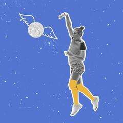 Obraz Modern design, contemporary art collage. Inspiration, idea, trendy magazine style. Sport. Professional female volleyball player on blue background. - fototapety do salonu