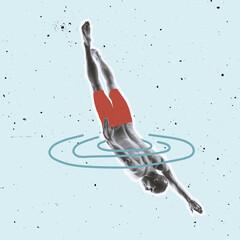 Obraz Contemporary art collage, modern design. Swimmer jumping into drwan ocean, sea on pastel background. - fototapety do salonu