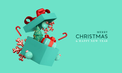 Obraz Christmas gifts box realistic 3d design. Xmas composition falling open blue gift boxes with festive decorative objects, Pine Tree, balls bauble. Happy new year holiday background. Vector illustration - fototapety do salonu