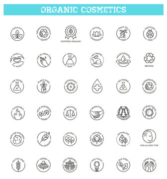Collection of linear symbols or badges for natural eco friendly handmade products, organic cosmetics, vegan and vegetarian food isolated on white background