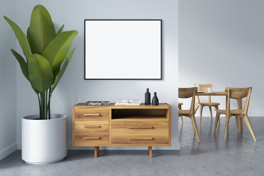 White dining room interior with furniture and drawer, mockup poster