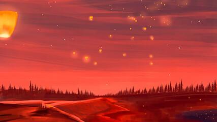 Night sky lantern scenery digital art 3d illustration.