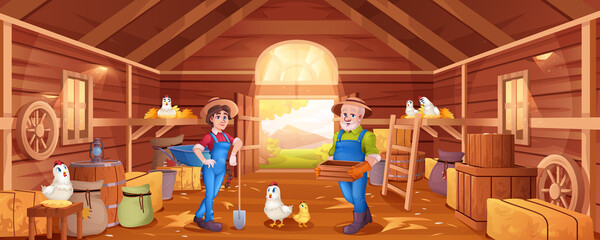 Fototapeta Cartoon wooden barn with farmers, haystacks,chickens and garden tools. Man and woman in hats in barnhouse on farm. Interior of rural shed with hens, straw, sacks and crates. obraz