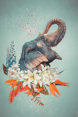 Obraz Abstract art collage of elephant with flowers - fototapety do salonu