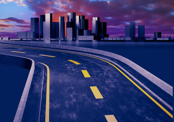 Obraz Cityscape with downtown in distance. Road leads to skyscrapers. Evening Cityscape with sunset. Skyscrapers on sunset background. Architectural landscape. Urban architecture. 3d rendering. - fototapety do salonu