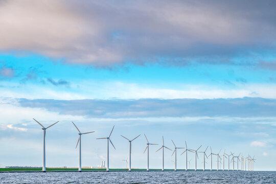 Wind turbines on the Ketelmeer, Flevoland Province, The Netherlands
