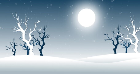 Snow falling against moon and trees in background