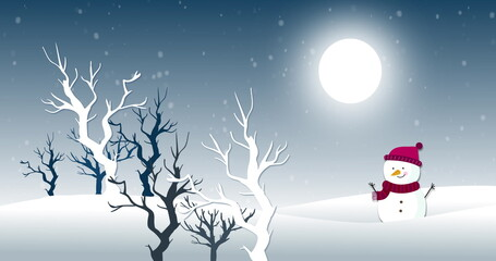 Snow falling against moon, snowman and trees in background