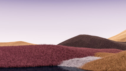 Obraz Surreal mountains landscape with brown, orange peaks and purple sky. Minimal modern abstract background. Shaggy surface with a slight noise. 3d rendering - fototapety do salonu