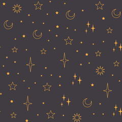 Obraz Stars seamless pattern with sun, moon. Mystical esoteric background for astrology design. Cosmos and space texture background. - fototapety do salonu