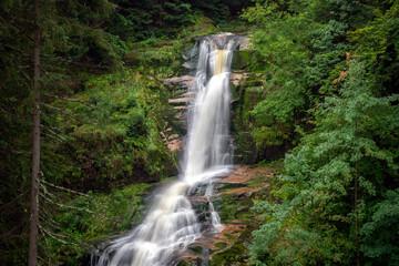 Obraz Waterfall in the mountains - Kamienczyka waterfall - Szklarska Poreba - Poland - fototapety do salonu