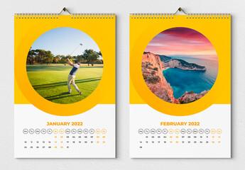 Fototapeta Wall Calendar 2022 Layout with Yellow Accents obraz
