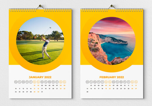Wall Calendar 2022 Layout with Yellow Accents