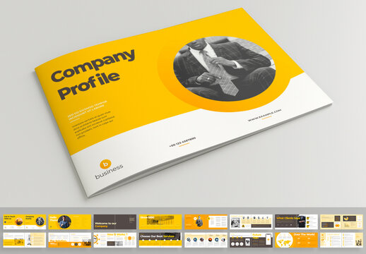 Company Profile Landscape Layout with Yellow Accents