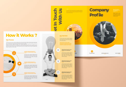 Bifold Brochure Layout with Yellow Accents
