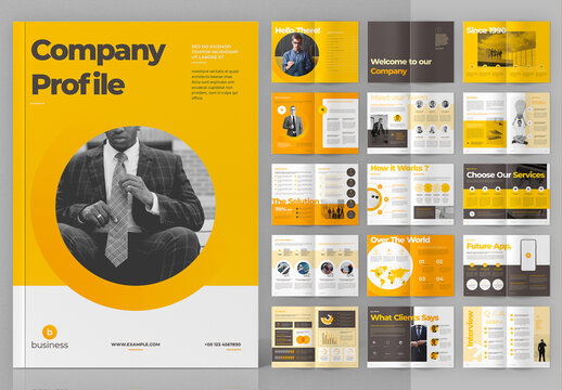 Company Profile Layout with Yellow Accents