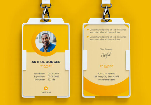ID Card Layout with Yellow Accents