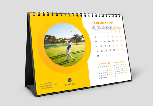 Desk Calendar 2022 Layout with Yellow Accents