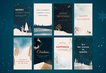 Obraz Winter Season Phone Wallpaper Layout - fototapety do salonu