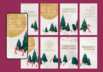 Obraz Christmas Greetings Story Layout Set - fototapety do salonu