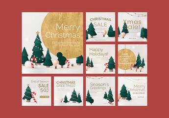 Obraz Merry Christmas Sale Poster Layout Set - fototapety do salonu