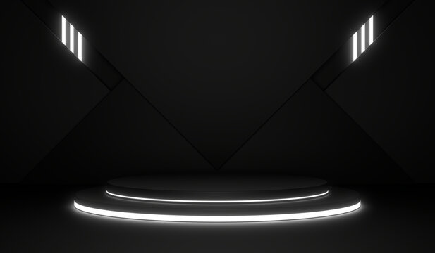 Sci Fi Pedestal, Cylinder Podium, Place For Product. White Neon Glow. 3D Rendering Image.