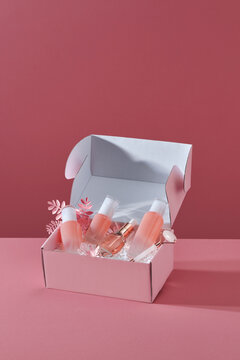 Decorative gift boxes with natural cosmetics and decorations