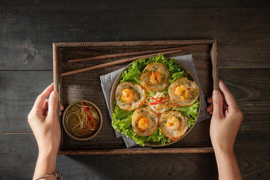 Delicious tiny fried shrimp pancake- Vietnamese cuisine, Banh Khot