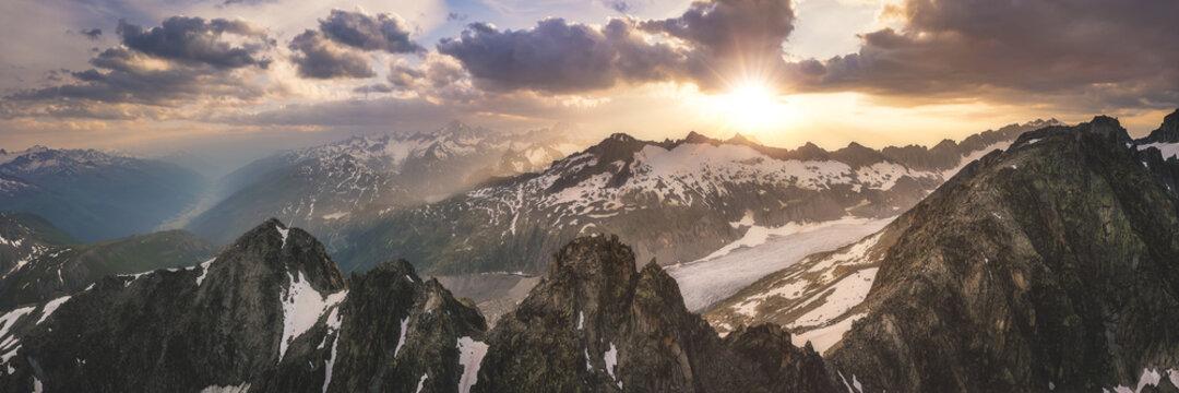 Mountainous sunset panorama