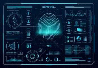 Obraz HUD biometric access control interface. Fingerprint scanner, digital identification or authentication technology. Vector thumb print with neon glowing infographic elements, DNA, graphs and charts - fototapety do salonu