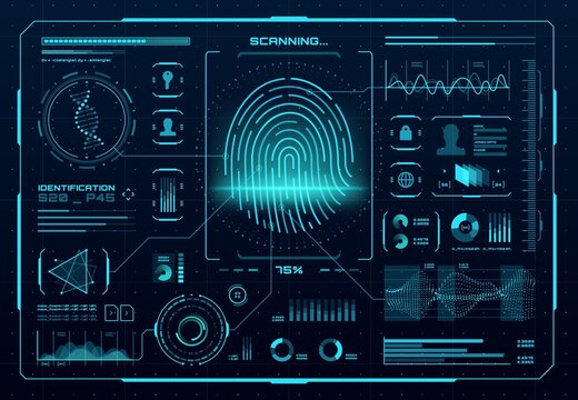 HUD biometric access control interface. Fingerprint scanner, digital identification or authentication technology. Vector thumb print with neon glowing infographic elements, DNA, graphs and charts
