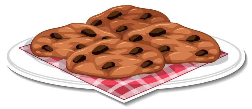 Chocolate chip cookies in plate sticker on white background