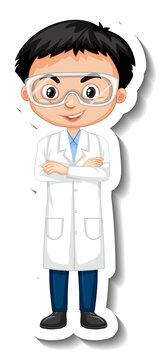 Scientist boy cartoon character sticker